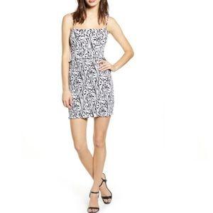 AFRM Isla Zebra Print Smocked Mini Dress.